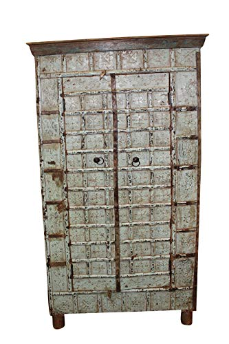 Mogul Interior Antique Cabinet Distressed Blue Indian Reclaimed Trunk Storage Hand Carved Rustic Armoire