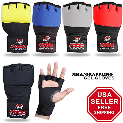 REBO Men's Punch and Gym Workout Gel Padded Boxing MMA Kickboxing Cross fit Hand wrap Gloves