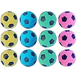 Foam Soccer Balls Pet Cat Fun Soft Sponge Toys Nontoxic Pack of 12 Variety Color