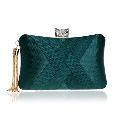 - MY Women's Evening Clutches Bags Silk Satin Party Handbags Bridal Wedding Prom Purses with Tassel Pendant,Dark Green