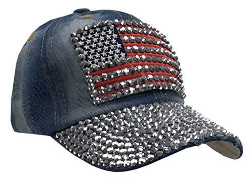 (Hair Glove Women's Bling Studded American Flag Denim Baseball Cap, Adjustable 52004-Medium)
