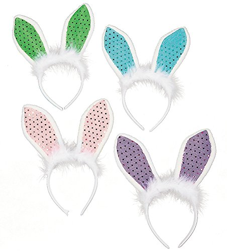 Sequin Bunny Rabbit Ears Headband for Easter Party Accessory (12 Count - Assorted Colors) (Bunny Sequin)