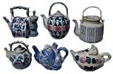 Blue and white chinese porcelain longevity teapot collection - set of 6 teapots