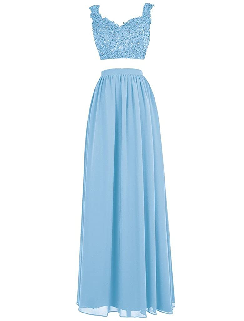 bluee APXPF Women's Lace Bodice Two Piece Beaded Ball Gown Prom Dress