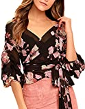 HaoDuoYi Women's Chiffon Floral Print Wrap V Neck Top Blouse with Tie