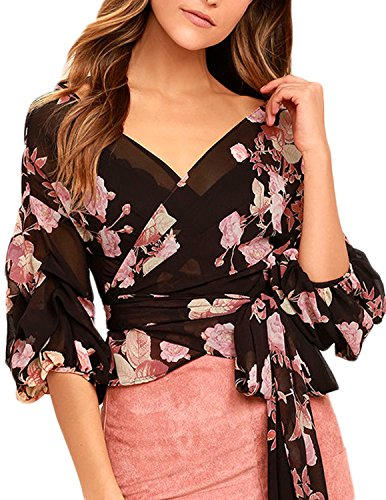 HaoDuoYi Women's Floral Print V Neck Half Lantern Sleeve Wrap Top(L,As Picture) - Lantern Sleeve V-neck Top