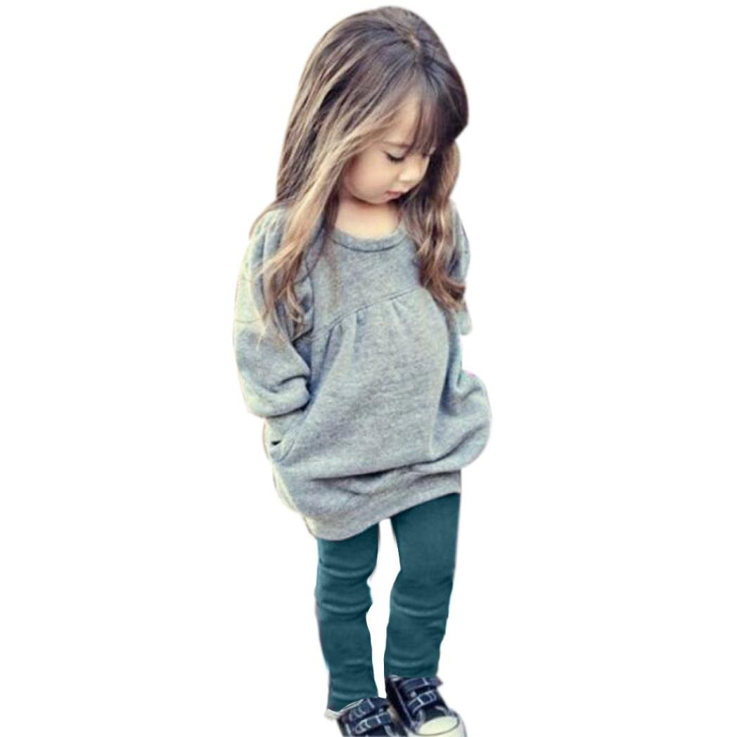 For 1-6 Years old Girls,Clode® Toddler Kids Girls Outfit Clothes Warm Long Sleeve T-shirt and Long Pants 1Set Clode-TS-008