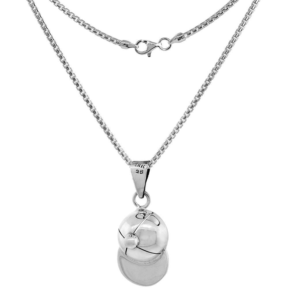 Sterling Silver Baseball Cap Necklace 1 3//8 inch Tall High Polished Handmade 2mm Round Box