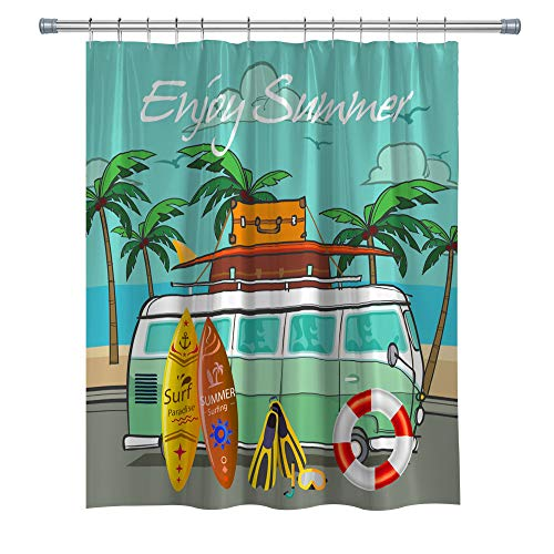 BT world Surf Shower Curtains, Hippie Classic Old Bus with Surfboard Freedom Holiday Waterproof Polyester Fabric Shower Curtain for Bathroom,Decor Shower Curtain Set with Hooks, 71X 71 in