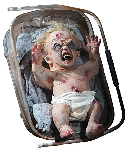 UHC Scary Haunted House Animated Zombie Baby Party Decoration Halloween (Scary Baby Halloween Prop)