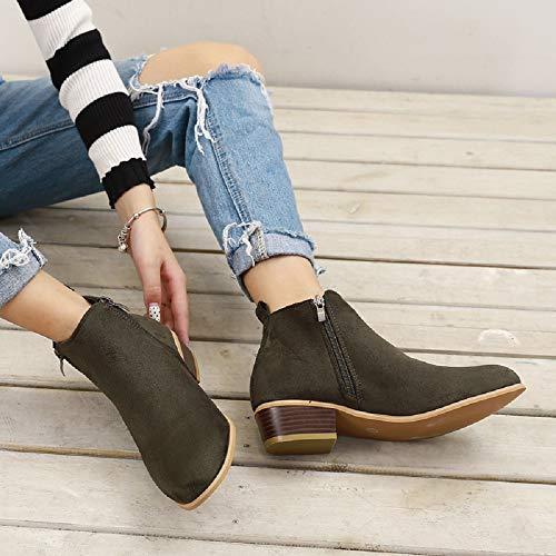 Chic Femme Taille Chaussures Cheville Grande Bleu Noir Femmes Boots Cuir Marron Vert Compensées Chelsea 43 35 Hiver Low Bottes Daim Bottine Talon 3cm AfSxv4