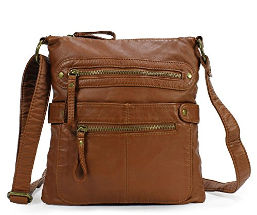 Scarleton Casual Double Zipper Crossbody Bag H182004 - Brown