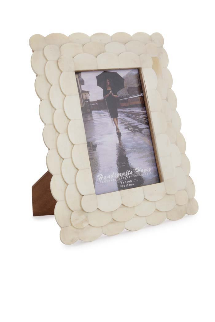 Handicrafts Home Picture Photo Frame Scalloped Arts Inspired Handmade Naturals White Bone Frames Size 4x6 inches