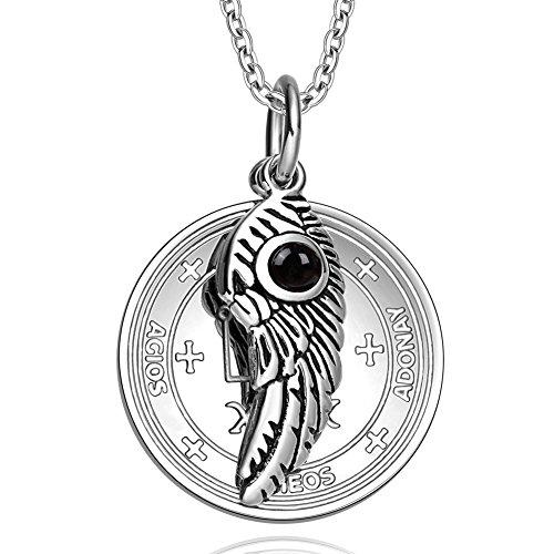 - Archangel Raphael Sigil Amulet Magic Powers Angel Wing Simulated Black Onyx Pendant 18 Inch Necklace