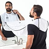 Beard Bros Beard Trimming Catcher - Improved suction cup quality, Additional suction cup FREE- Extra Length 116cm - For Quick disposal of Facial Hair Mess (White)