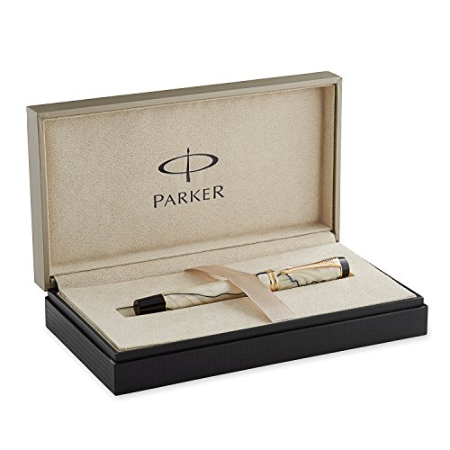 - PARKER Duofold International Pearl and Black, Fountain Pen with Fine solid gold nib (S0767460)