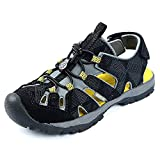 Northside Kid's Burke SE Athletic Summer Sandal, Black/Yellow, 4 M US Big Kid; with a Waterproof Wet Dry Bag