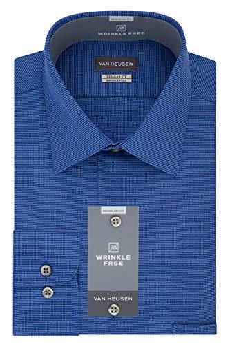 (Van Heusen Men's Dress Shirts Regular Fit Micro Houndstooth Spread Collar, Medium Blue, 16