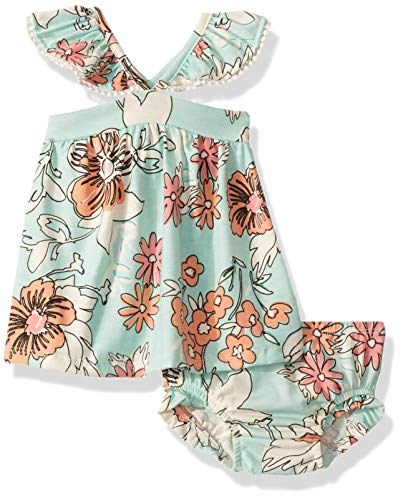 Jessica Simpson Baby Girls 2 Piece Top and Bloomer Set, Tropical Blue Tint Floral, 6-9 Months