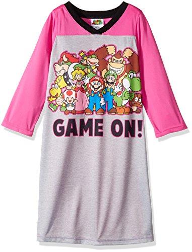(Super Mario Brothers Girls' Big Super Mario Nightgown, Princess Peach Pink,)
