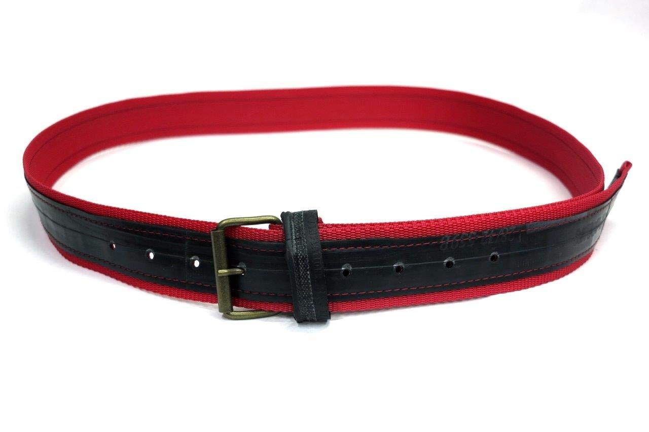 recycle from racing bicycle tires Made in Italy Size from S to M. Unisex belt built using inner tube and nylon strap in red color