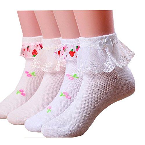 Price comparison product image Girls Ruffle Lace Top Cute Cotton Socks 4 Paris (4colors)