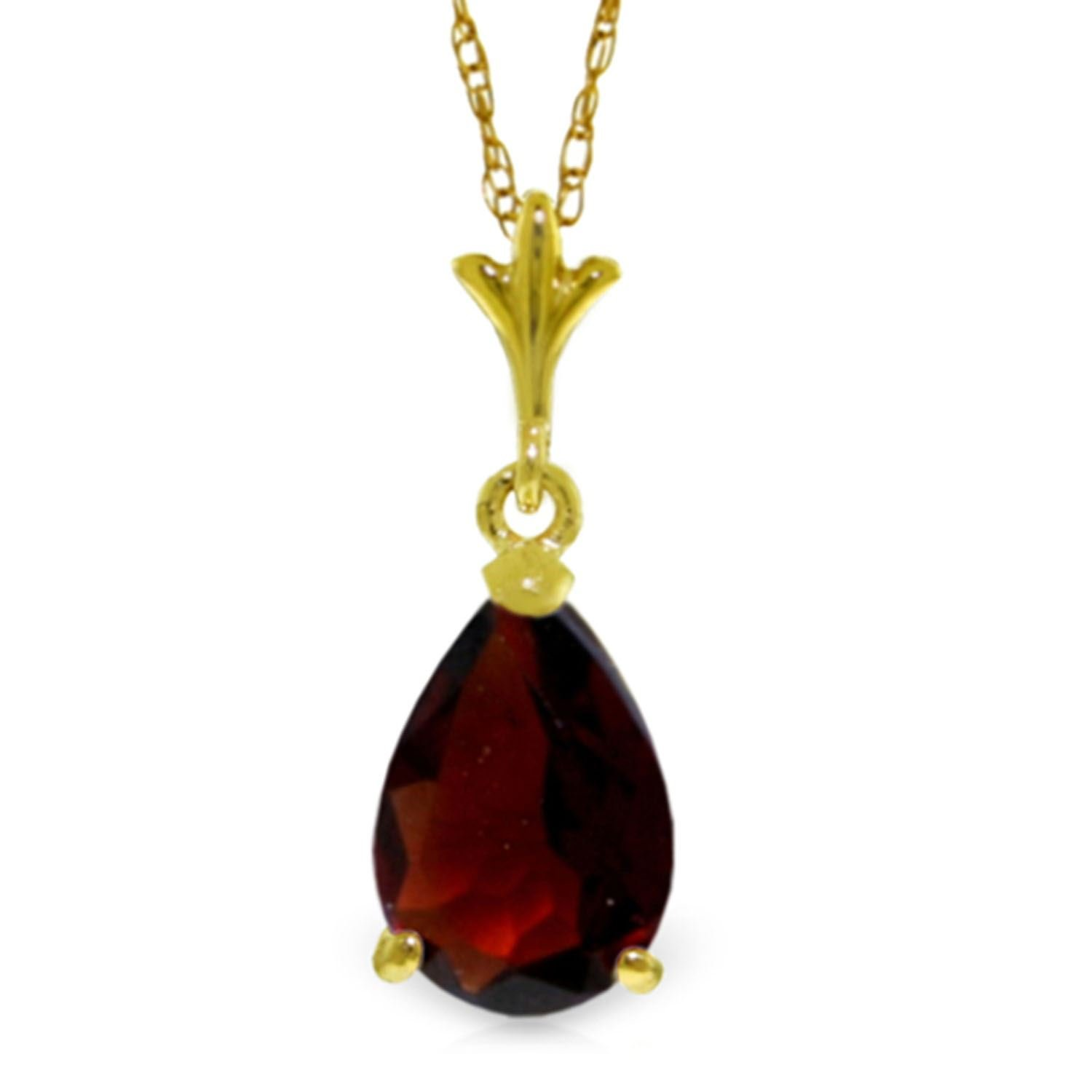 ALARRI 1.5 Carat 14K Solid Gold Ode To Love Garnet Necklace with 18 Inch Chain Length