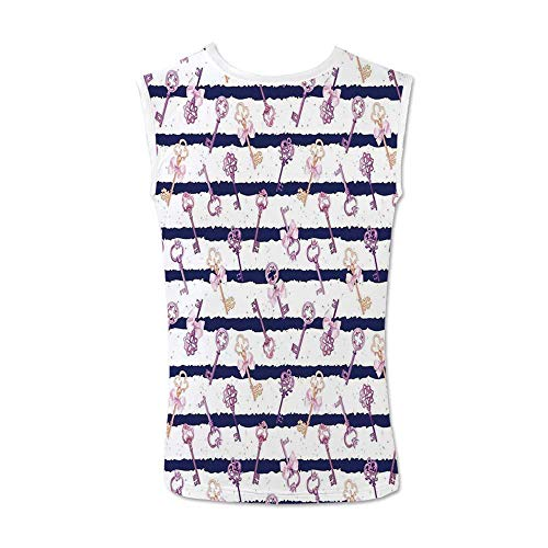 Girls Comfortable Tank Top,Old Medieval Vintage Keys with Ribbons and Diamonds Striped Pattern in French Style for Men,M