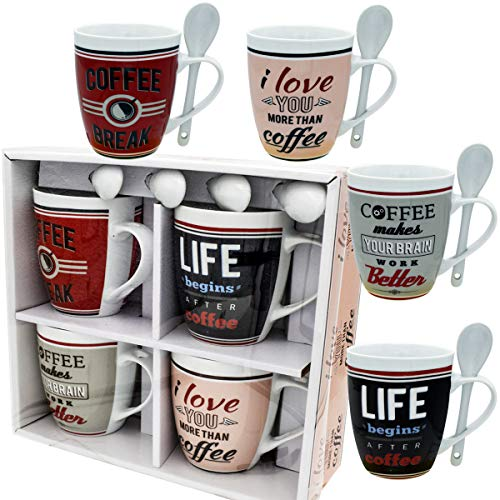 Coffee Mug Set 4 Mug and Spoon Porcelain Set 8 pcs 12 oz White Mug Unique Coffee Mugs and Tea Cups - Gift Boxed - A Great Marriage or Friends Gift Set Retro Style