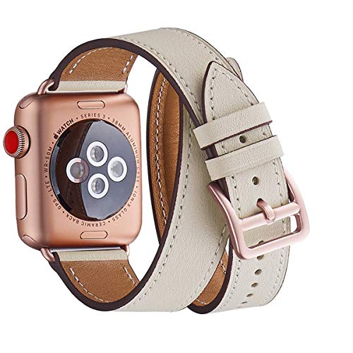 WFEAGL Compatible Watch Band 42mm 44mm, Top Grain Leather Double Tour Band with Rose Gold Adapter (The Same as Series 4/3 with Gold Aluminum Case in Color) for Watch Series 4/3/2/1 (Ivory+Rose Gold)