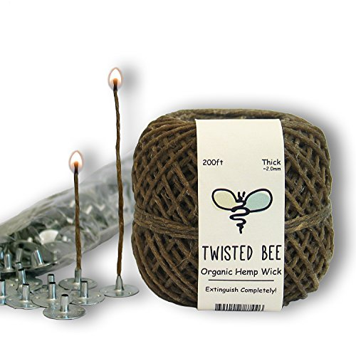 100% Organic Hemp Candle Wick + Wick Sustainer Tabs | Twisted Bee, 200ft(Thick) x 200pcs