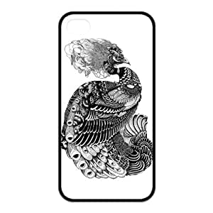 Black and White Peacock Protective Printed Cover Case for iPhone 4,iPhone 4s Cases