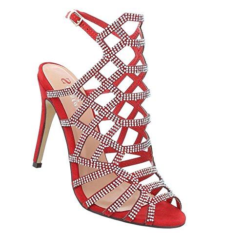 Schuhcity24 Damen Schuhe Sandaletten High Heels Pumps Rot