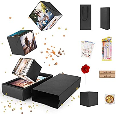 FORIZEN Explosion Box Scrapbook Creative, DIY Álbum de Fotos Libro de Recuerdos, Caja de Regalo Creative Explosion Regalos de Cumpleaños Navidad, Negro: Amazon.es: Hogar