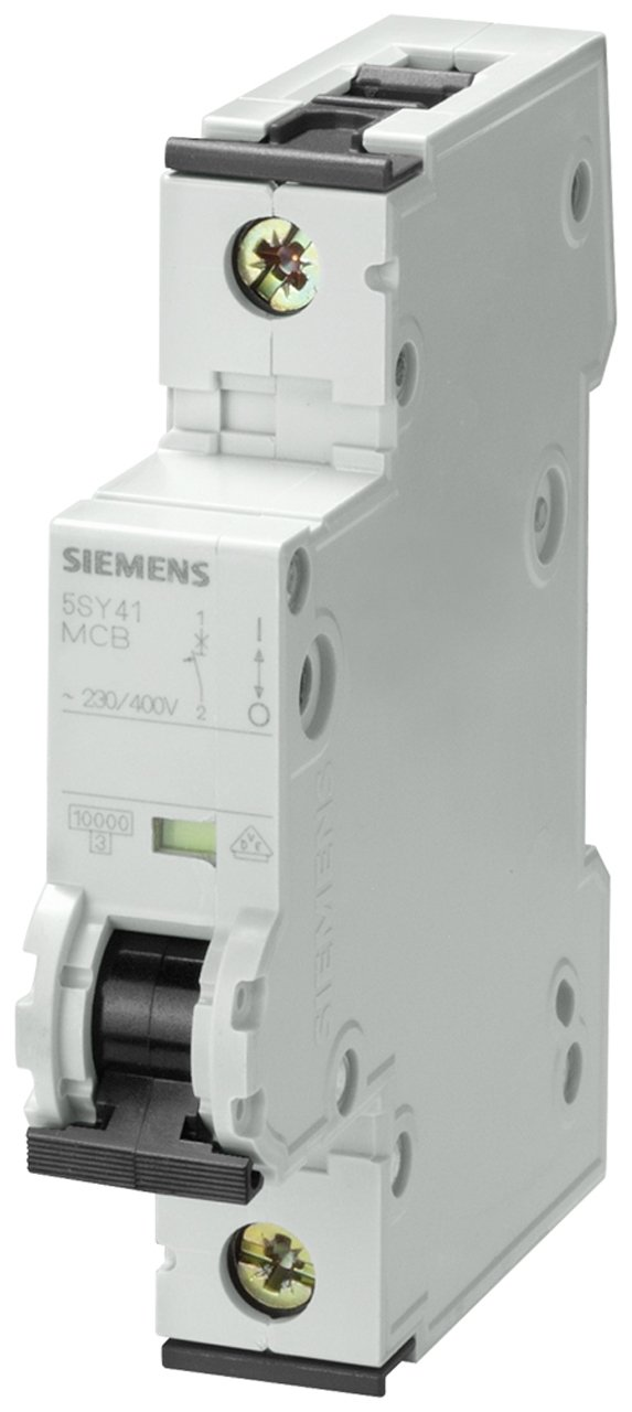 Siemens 5SY41105 Supplementary Protector, UL 1077 Rated, 1 Pole Breaker, 10 Ampere Maximum, Tripping Characteristic A, DIN Rail Mounted