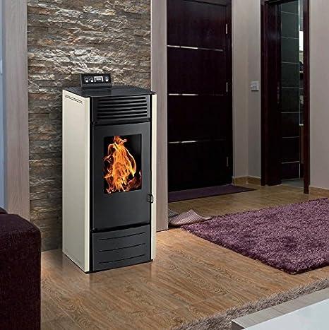 Estufa de cristales para stovia - Orta 10 kW con depósito 25 kg con o sin Option WiFi - Color blanco, con Wifi: Amazon.es: Bricolaje y herramientas