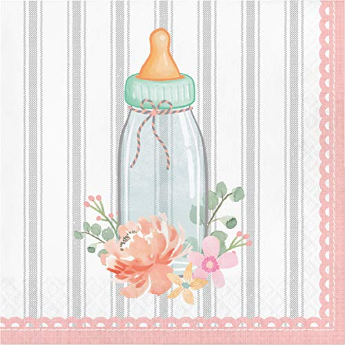 Country Floral Baby Shower Rattle Napkins, 48 ct