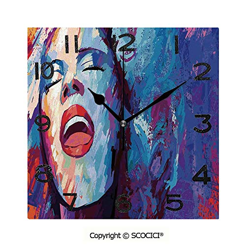 SCOCICI 8 Inch Square Face Silent Wall Clock Illustration of Singer On Grunge Background Performing Singing Woman Image Unique Contemporary Home and Office Decor
