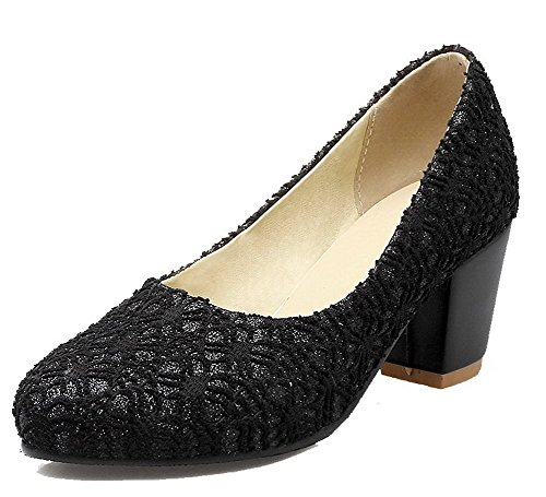 Odomolor Women's Lace Round-Toe Kitten-Heels Pull-On Solid Pumps-Shoes, Black, 41