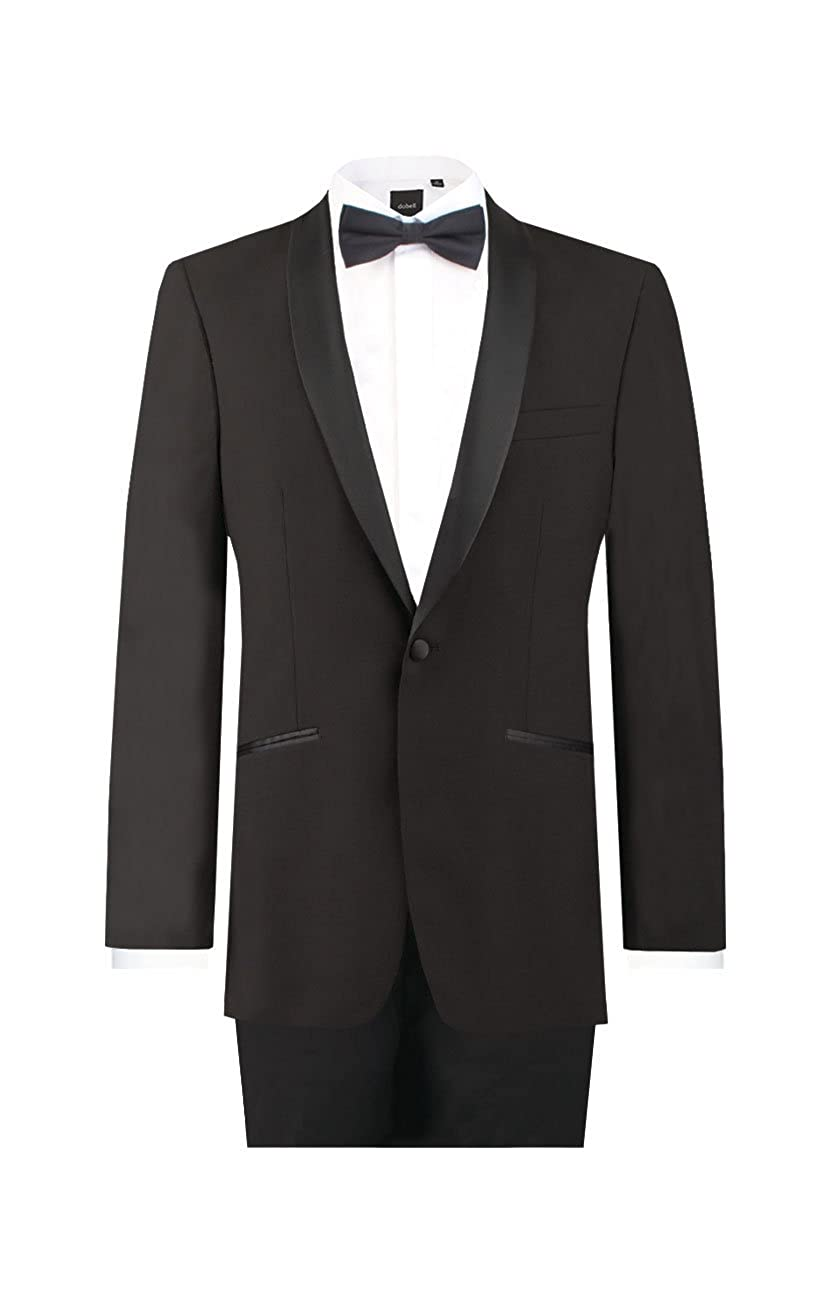 Dobell Mens Black 2 Piece Tuxedo Regular Fit Shawl Lapel