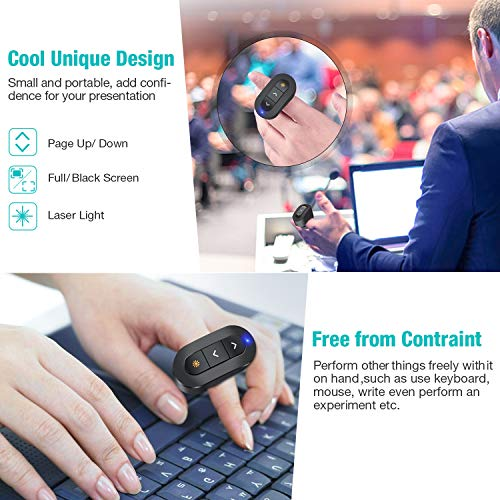 DinoFire Wireless Presenter Finger Ring USB Powerpoint Presentation Clicker Rechargeable RF 2.4 GHz Presentation Remote Control Laser Pointer Slide Advancer Support Mac Photo #7