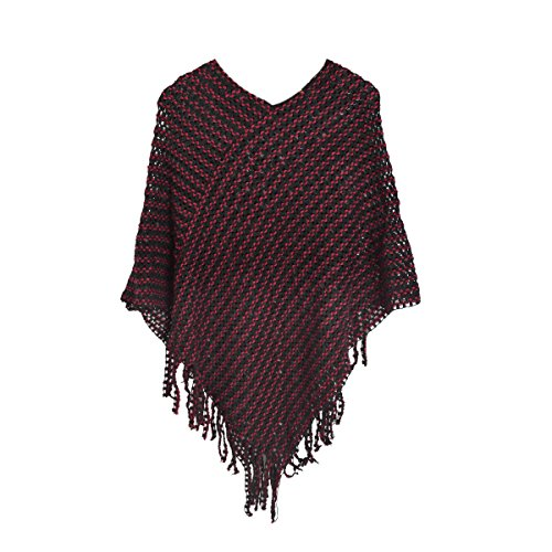 Elegant Two Tone Mesh Knit Striped Crochet Tassel Poncho Sweater Top, Burgundy