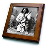 3dRose ft_98646_1 Vintage Photo of Geronimo in Black and White Framed Tile, 8 by 8-Inch
