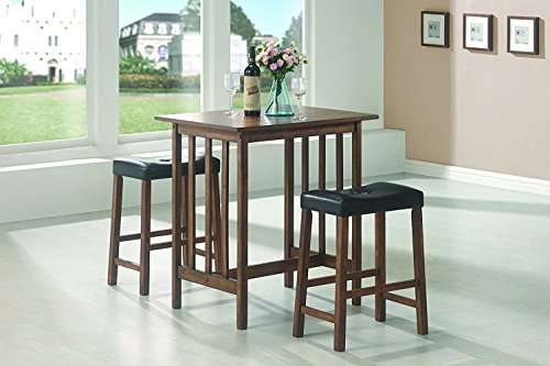 (Coaster Home Furnishings 3pc Breakfast Table and Stools Set in Nut Brown )
