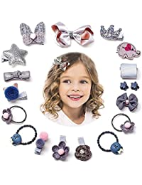 Baby Girl Hair Accessories,Cute Fancy Hair Clips Bows Barrettes Hairpins Set for Baby Girl Teens Kids Toddlers Gift(Grey)