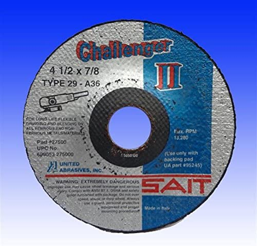 25-Pack United Abrasives-SAIT 27508 CH II 5 by 1//8 by 7//8 100X Flexible Type 29 Grinding//Blending Wheel