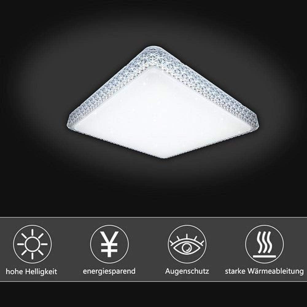 LED Deckenleuchte eckig Lampe Starlight Effekt Gesch/äft Deckenbeleuchtung Farbwechsel 176V-264V-60w Farbwechsel Eckig Kristall Rahmen