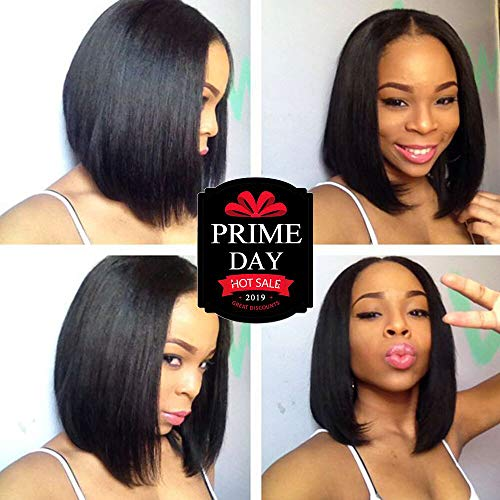 URALL Hair 13x4 Pre Plucked Lace Front wigs human hair Brazilian Straight Hair Short Bob Wigs For Black Women Bleached Knots(10inch) - Human Hair Quality Wig