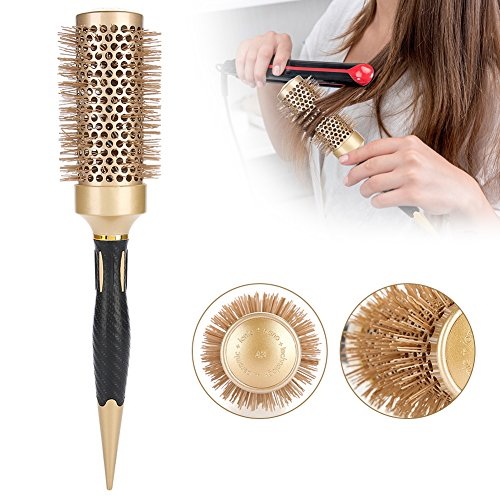 Round Brush, Blow Dry Brush Portable Anion Anti-static Hair Comb Salon Styling Brush Hairdressing Tools Gold (A1812-43) by Semme