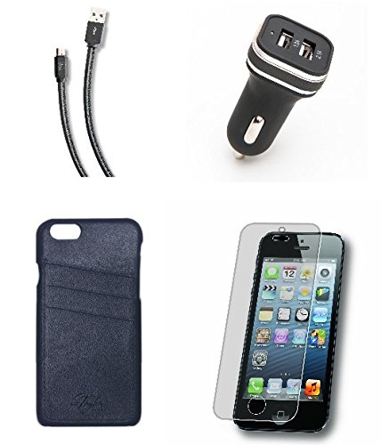 iPhone 6/6s Accessory Bundle in Genuine Leather with Wallet Card Case, Matching Charging Cable, Car Adapter and Tempered Glass Protector - (4 Items) Officially
